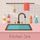 Kitchen sink with kitchenware. Utensil,  dishes, dish detergent and a sponge. Flat style vector illustration Stock Photos