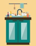 Kitchen sink with kitchenware Royalty Free Stock Photo