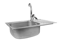Kitchen sink with tap. Isolated on white background stock image