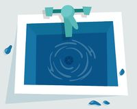 Kitchen sink with water. Flat cartoon style vector illustration Stock Photography