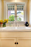 Kitchen sink and white cabinet with window. Kitchen double sink and white cabinet with window stock images