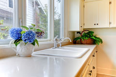 Kitchen sink with white cabinets and flowers. Stock Images