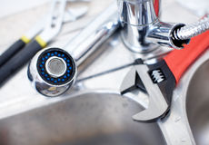 Kitchen Sink. Wrench Stock Photos