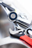 Kitchen sink. Wrench. Plumming Royalty Free Stock Images