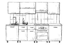Kitchen sketch plan. Hand made  illustration. Stock Photography