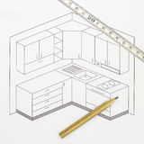 Kitchen Sketch. Shoot of Architect kitchen sketch - Blueprint stock image