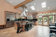 Kitchen with skylights Royalty Free Stock Photography