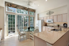 Kitchen with sliding doors to patio Royalty Free Stock Photo