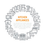 Kitchen small appliances equipment banner illustration. Vector line icon of household cooking tools blender mixer Royalty Free Stock Image