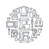 Kitchen small appliances equipment banner illustration. Vector line icon of household cooking tools - blender mixer Stock Images