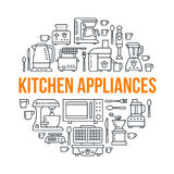 Kitchen small appliances equipment banner illustration. Vector line icon of household cooking tools - blender, mixer Royalty Free Stock Photos