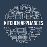 Kitchen small appliances equipment banner illustration. Vector line icon of household cooking tools - blender, mixer Royalty Free Stock Images