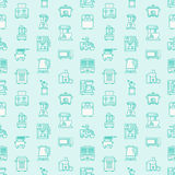 Kitchen small appliances equipment blue seamless pattern flat line icons. Household cooking tools - blender, mixer, food Royalty Free Stock Photography