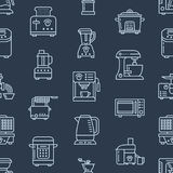 Kitchen small appliances equipment seamless pattern with flat line icons. Household cooking tools - blender, mixer, food Stock Images
