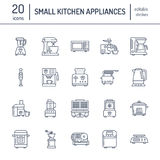 Kitchen small appliances line icons. Household cooking tools signs. Food preparation equipment - blender, coffee machine. Microwave, toaster, meat grinder stock illustration