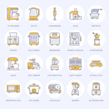 Kitchen small appliances line icons. Household cooking tools signs. Food preparation equipment - blender, coffee machine Royalty Free Stock Photo
