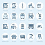 Kitchen small appliances line icons. Household cooking tools signs. Food preparation equipment - blender, coffee machine Royalty Free Stock Photos