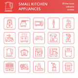 Kitchen small appliances line icons. Household cooking tools signs. Food preparation equipment - blender, coffee machine Stock Photos