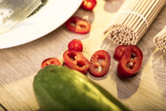 Kitchen snapshot with vegetables Royalty Free Stock Image