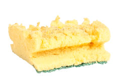 Kitchen sponge. Old kitchen sponge on a white background Royalty Free Stock Images