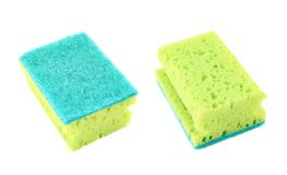 Kitchen sponge front and back view Stock Photos