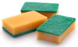 Kitchen sponge with scotch brite. Over white background stock photography
