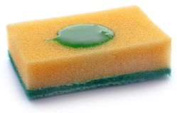 Kitchen sponge with scotch brite. Over white background stock images