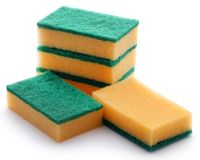 Kitchen sponge with scotch brite. Over white background stock image