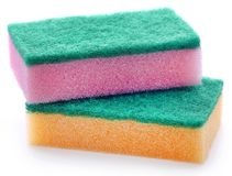 Kitchen sponge. With scotch brite over white background stock images