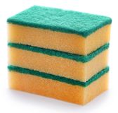 Kitchen sponge. With scotch brite over white background stock photography