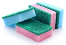 Kitchen sponge with scotch brite stock images