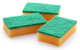 Kitchen sponge with scotch brite royalty free stock image