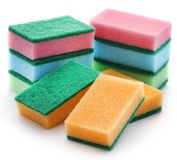 Kitchen sponge with scotch brite royalty free stock images