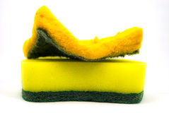 Kitchen sponge. To cleaning kitchen after diner or eat something royalty free stock photography