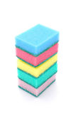 Kitchen sponges. A stack of five colorful kitchen sponges for doing the dishes. Image isolated on white studio background Stock Photos