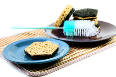 Kitchen sponges for ware washing on a white Royalty Free Stock Images