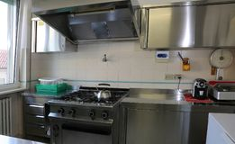 Kitchen with stainless steel cookers Royalty Free Stock Photos