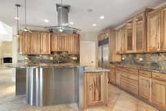 Kitchen with stainless steel island Stock Image