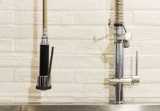 Kitchen, steel faucet Stock Photo