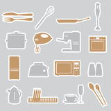 Kitchen stickers set eps10 Stock Photos