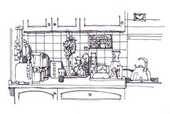 Kitchen still with different homeware. Kitchen still in ink with different homeware royalty free illustration
