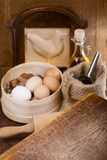 Kitchen still life with eggs Royalty Free Stock Image