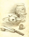 Kitchen still life in pencil. Apples in bowl Stock Photo