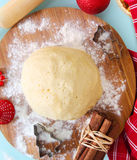 Kitchen still life with raw Christmas dough for Cristmas cookies Royalty Free Stock Photography