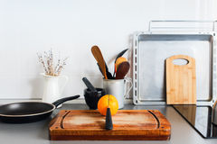 Kitchen Still Life Rustic Dishes Table Ware Orange Stock Image