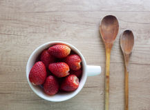 Kitchen still life with strawberries Royalty Free Stock Image