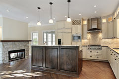 Kitchen with stone fireplace Stock Images