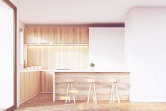 Kitchen with stools and bar Stock Photo