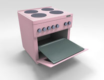 Kitchen stove. Pink kitchen stove with open oven Royalty Free Stock Image