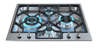 Kitchen stove with burning burners Stock Photography